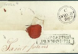 Canada Newfoundland Cover 1827 Postmaster St.johns Per Ship Letter Plymouth W02a