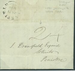 Gb 1840 Cover First Day Upp Letter Wakefield York 2d Local Charge Penistone 925f