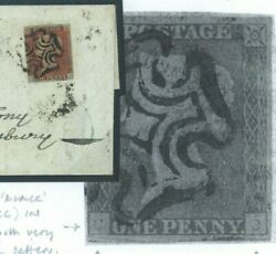 Gb Cover 1d Red Ex Black Plate 5cc State Iii Weak Check Letter Hants 1841 V13a