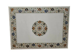 48 X 36 White Marble Coffee Table Top Inlay Handmade Art For Home Decor