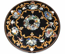 48 Black Marble Dining Table Top Pietra Dura Marquetry Inlay Handmade Work Art