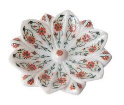 6 White Marble Decorative Dry Fruit Bowl Floral Inlay Home Decor And Gifts