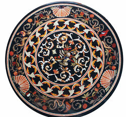 42 Black Round Marble Table Top Pietra Dura Inlaid Home And Garden Decor