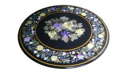 48 Marble Round Center Semi Precious Stones Table Top Marquetry Handmade Work