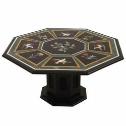 36 Black Marble Dining Table Top Semi Precious Stones Inlay With Marble Stand