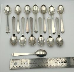 14 Pieces Georg Jensen Pyramid Sterling Silver Small Tea Spoons 4 5/8andrdquo
