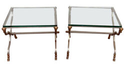 Pair Maison Jansen Style Brass And Steel Rams Heads Louis Xvi End Tables