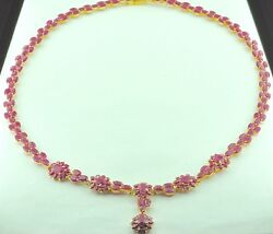 Antique Vintage 14k Yellow Gold 22.90 Ct Natural Ruby Necklace Lariat Rare