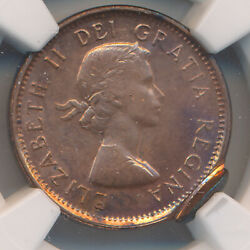 Canada Cent 1962 Double Struck 2nd Strike 95 Off Center - Ngc Mint Error Ms 63