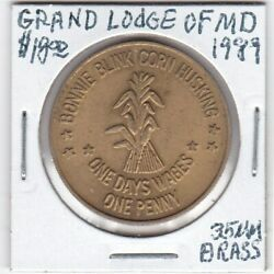 Masonic Penny - Grand Lodge Of Maryland - Harvest Home Day - 1989 - 35 Mm Brass