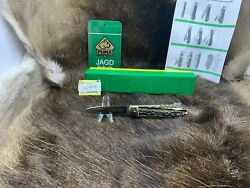 1974 Vintage 943 Jagdmesser Knife With Stag Handles Factory Box And Gold Tag