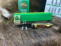 1979 Vintage 945 Jagdmesser Knife With Stag Handles Mint Factory Box And Tag