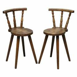 Pair Of Circa 1780 Country House Pine Chairs Stunning Patina Table Available