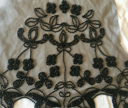 Antique Couture French Hand-beaded Applique Dress Sleeves Blck