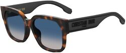 Christian Dior Diorid 1F 086 Dark Havana Blue Grey Lens Women Sunglasses New