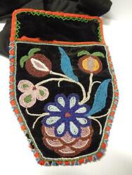 Antique 1880s Vintage Chippewa Beaded Shot Pouch Long Bandolier Red Trade Cloth