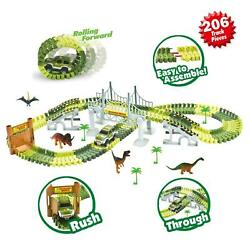 Dinosaur Kids Toy Car Set With 206 Interchangeable Track pcs. Jurassic Dino $22.49