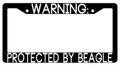 Warning Protected By Beagle Black Plastic License Plate Frame Auto