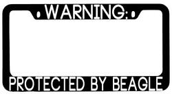 Warning Protected By Beagle Black METAL License Plate Frame Auto