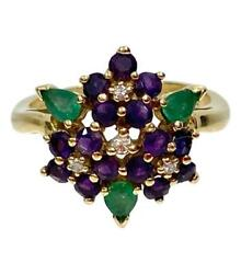 Faberge 18k Gold Ring With Diamonds, Amethyst And Emeralds