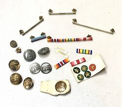 Lot Vintage 1960' Us Military Insignia Pin Badge Buttons Afa Rifle Scout Mint
