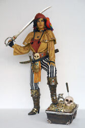 Lady Pirate With Treasure Box Statue Life Size