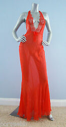 Victorias Secret $398 Nwt Designer Collection 100% Silk Red Mermaid Lace Gown