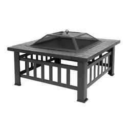 32quot; Outdoor Metal Fire Pit Backyard Patio Garden Square Stove FirePit Wood Heat