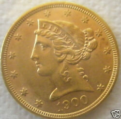 1900 5 Liberty Head Gold Half Eagle Very Nice Gem