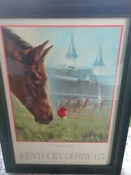 Kentucky Derby115 Official Poster Signed Gold Leaf Chance Of A Lifetime' Framed
