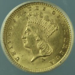 1857 Type Iii Indian Princess Gold 1 Dollar Coin Anacs Ms-62 Better Coin