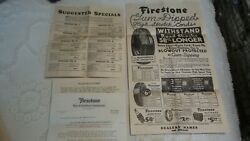 1930's Antique Tire Advertising Firestone, Goodyear Paper Window Signs