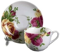 Royal Albert New Country Roses Tea Cups And Saucers Set Of 4 New