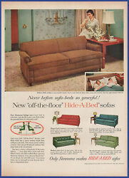 Vintage 1955 Simmons Modern Hide-a-bed Sofa Furniture Ephemera 50and039s Print Ad