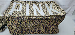 Victorias Secret Pink Leopard Print Dorm Storage Bin Box Laundry Shoe Trunk Rare