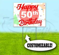 Happy Birthday Custom Age And Name 18x24 Yard Sign With Stake Corrugated 50th