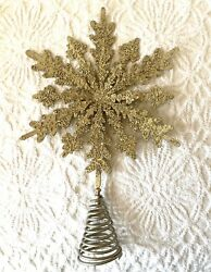 New Pottery Barn Gold Silver Glitter Bead Snowflake Christmas Tree Topper Metal