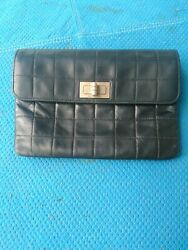 Authentic Vintage Bag 8 W X 6 H Black Quilted Leather Matte Silver Clasp
