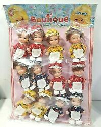 Five And Dime Hanging Store Display Small Dolls 4 With Country Outfit Hats