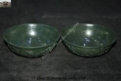 Old Dynasty Palace Natural Hetian Green Jade Jasper Carved Dragon Tea Bowl Cup