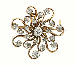 Vintage 1940and039s 14k Gold Ladies 2.00 Carats Diamonds Design Pin Closeout Price