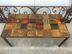 Mid Century Vallauris Pottery Tile Table Mosaic Roger Capron Style Accent France