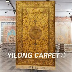 Yilong 3and039x5and039 Small Size Hand Made Silk Gold Carpet Living Room Antique Rug G57c