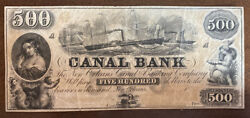 18xx The New Orleans Canal Banking Conpany Canal Bank 500 Obsolete Banknote