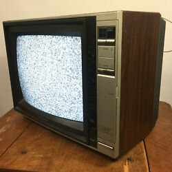 Vintage Wood Grain Crt Emerson Electronic Tuning System Tv Television Small Game