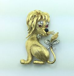 Estate Piece Whimsical 18k Gold Diamond And Ruby Lion Pin Pendant Vintage 1970and039s