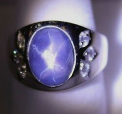 Stylish Solid 14k White Gold, 10 Ct. Blue Star Sapphire W/ Diamond Accents Ring