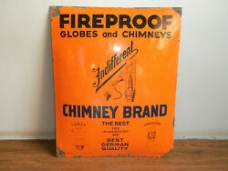 Rare Vintage Globes And Chimneys Advertising Enamel Sign Of 30's Made In Germany