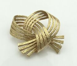 And Co. 18k Yellow Gold Signed Large Bow Pin Ladies Vintage 22.4 Grams