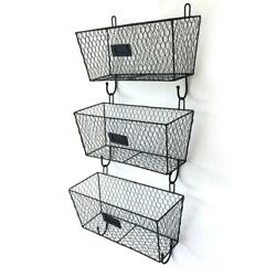 Wall Mount Rack Fruit 3x Basket Holder Storage Metal Wire Tier Bin Shelf Kitchen